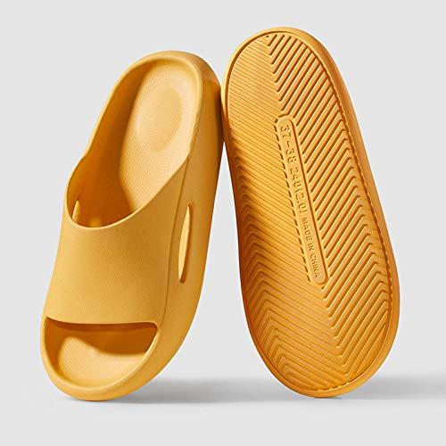 Coral Vaughan Pantofole calpestano la Sensazione di Merda Femminile Estate Famiglia Sandali da Bagno a casa con la Suola Spessa e Pantofole da Bagno Estivo al coperto-35-36_Giallo