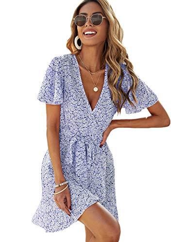 SheIn Women's Deep V-Neck Short Sleeve Tie Front Floral Print Ruffle Hem Dress Light Blue Medium