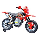 Tidyard 6V Electric Kids Ride On Motorcycle Battery Powered Motocross Outdoor Recreation Dirt Bike Toy with 2.5mph Max Speed Training Wheels Light for Children Red