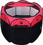 Coolty Cuccia Pieghevole, Recinzione per Cagnolini, Cani, Gatti, Animali di Piccola Taglia per Interno o Esterno, Rosso (L)