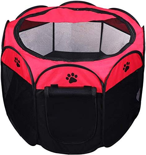Coolty Plegable Parque Mascota de Juego Fabric Pet Pen para Perros, Gatos, Conejos y Animales Pequeños, Rojo(L)