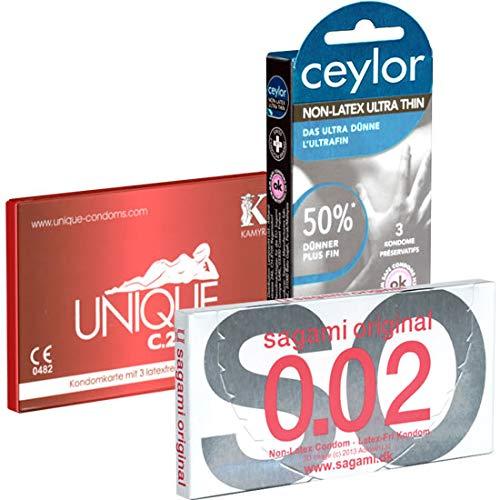 Der Latexfreie Kondomotheke®-Mix 3E - 3 Schachteln latexfreie Kondome (Ceylor, Kamyra, Sagami)