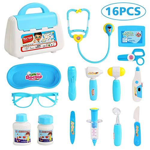 BelleStyle Dottore Bambini Kit, Dottore Giocattolo Gioco di Ruolo Medico Imitazione Kit Medico Giocattolo con Stetoscopio per Bambini 16 Pezzi