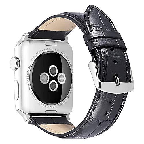 FOUUA Compatible para Apple Watch Correa 44mm 42mm 40mm 38mm Correa de Cuero Suave Correa de Repuesto Compatible para iWatch Series 5 Series 4 Series 3 Series 2 Series 1 Sport