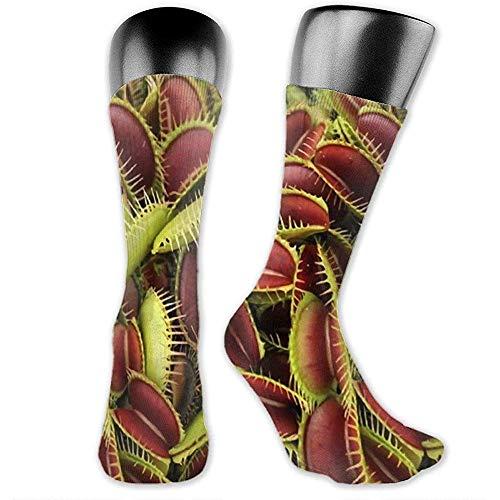 NA Mens/Womens Socks 40cm, vleesetende plant Unisex Fashion ademende Athletic Running Crew Sokken Casual Travel Stocking