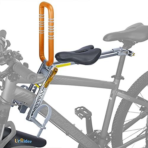 UrRider New Upgrade Kinderfahrradsitz. Passend für Mountainbikes, Damenfahrräder und Falträder/Faltbar, tragbar, werkzeuglos Schnellverschluss-Fronthalterung für Kinderfahrradträger