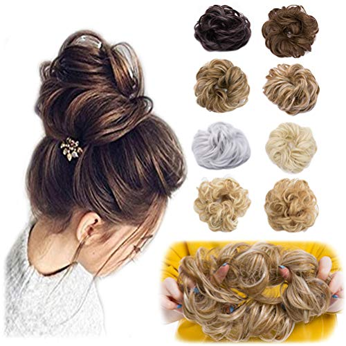 Messy Bun Hair Piece Scrunchy Updo Hair Pieces for Women Fluffy Wavy Hair Bun Scrunchies Donut Hairpiece Synthetic Chignons With Elastic Rubber Band Brownish Black 2 pcs