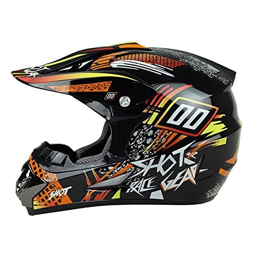 XRDSHY Casco da Motocross, Casco da Motocross, per Adulti, Casco da Discesa, Occhiali, Guanti, Maschera facciale, per BMX MTB ATV, Certificazione ECE e DOT,H-M