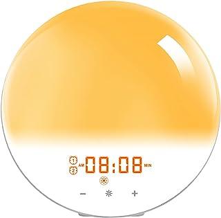 Vakna upp ljus, snooze -funktion och atmosfärslampa, solnedgångslampa väckarklockor Simulering nattlampa, med FM -radio, n...