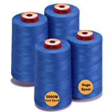 New brothread - 28 Opciones - 4 Bobinas Grandes de 5000M hilo de coser de poliéster todo propósito 40S/2 (Tex27) para coser, acolchar, patchwork, remalladora y overlock - Patriot Blue