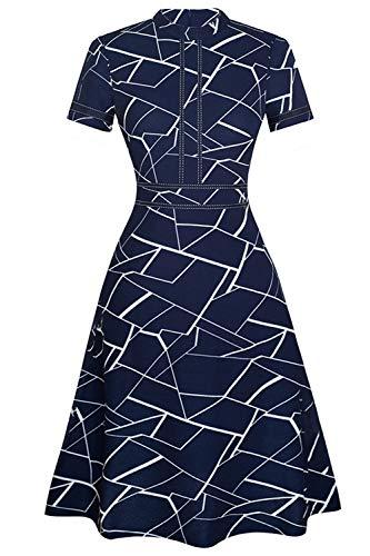 BABYONLINE D.R.E.S.S.® Cocktailkleid Damen Abendkleid Kurz Kleid Festlich Jerseykleider Knielang für Hochzeit Partykleider, Dunkel Blau, XXL