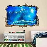Tiburón peces submarino profundo acuario etiqueta de la pared mural calcomanía habitación de los niños Poster Mural Artístico - 70x100CM