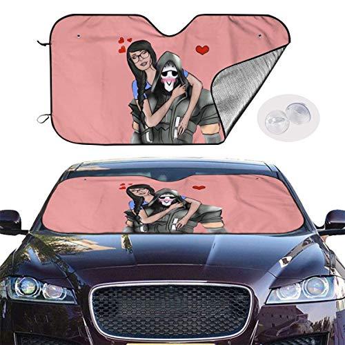 JKKSA Parasol Protector Solar para la Parabrisa Delantera del Coche Sssniperwolf Fan Auto Shield Cover Sun Shade for Windshield UV Sun and Heat Reflector