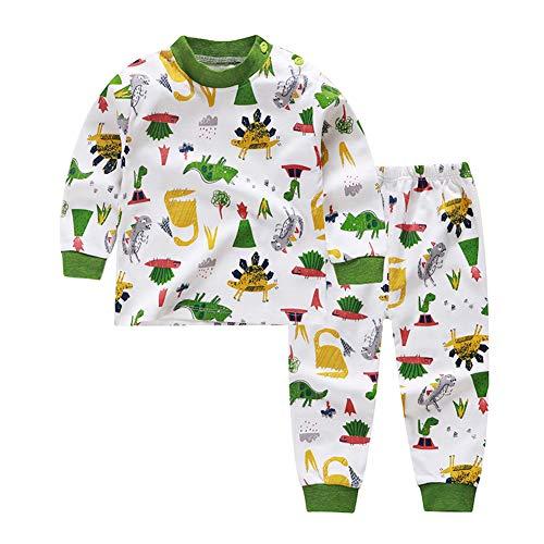 Deylaying Bébé Enfants Pyjamas Bambin Coton Pyjama Chemise de Nuit pour 1-4 Ans garçons Filles Green 90cm