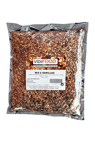 Mezcla de Semillas - 1kg - Deliciosa semilla de lino, semillas de girasol, semillas de sésamo, semillas de calabaza y mezcla de semillas de amapola - Ideal para snacks y cocina