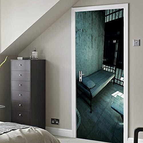 3D Tür Mauer Aufkleber Wandbilder Gefängnis 77x200cm Selbstklebende Abnehmbar Wandabziehbilder Wandbilder Poster Vinyl Für Kinder Wohnzimme Schlafzimmer Türtapete Dekor