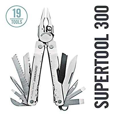 LEATHERMAN, Super Tool 300 Multitool with Premium Replaceable Wire Cutters and Saw, Stainless Steel with Leather Sheath