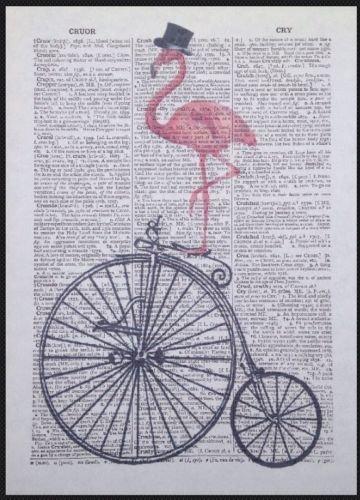 Parksmoonprints Page de dictionnaire vintage en forme de flamant rose Penny Farthing - Décoration murale