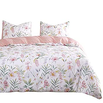 Wake In Cloud - Floral Comforter Set Pink Botanical Flowers and Green Tree Leaves Pattern Printed on White Soft Microfiber Bedding  3pcs King Size