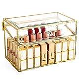 Impresionante Vanity Holder barra de labios Cristal sin polvo Brillo labial transparente Perfilador de ojos Vanity Cabinet Maquillaje Organizador con divisores extraíbles 40 espacios (Oro)