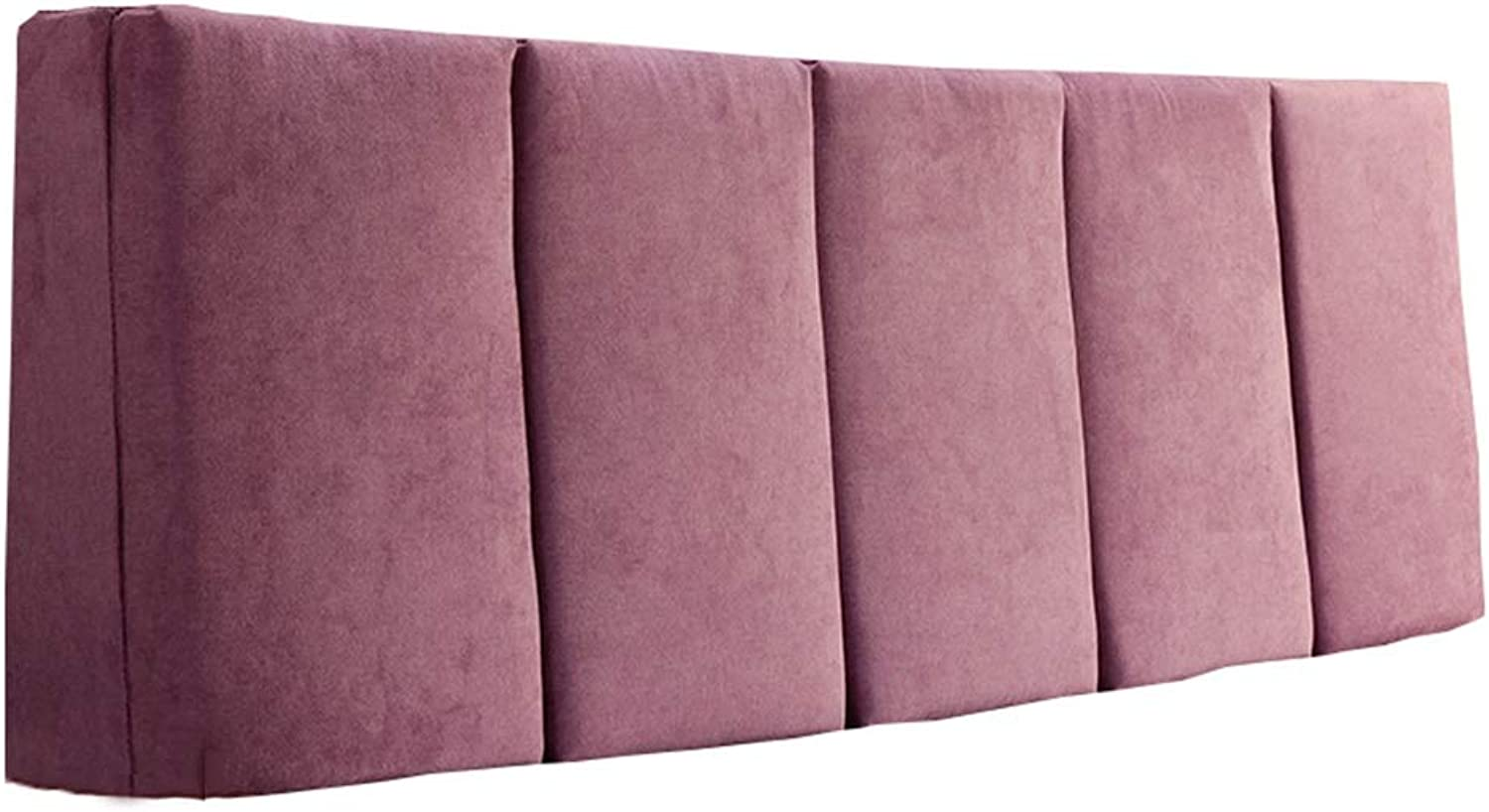 WENZHE Upholstered Fabric Headboard Bedside Cushion Pads Cover Bed Wedges Backrest Waist Pad Cloth Waist Belt Soft Case Home Hotel Backrest Washable, 4 colors (color   A-Purple, Size   200x55x5cm)