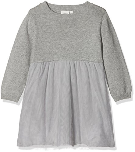 Name It Nitfilolle Ls Knit Dress F Mini Robe, Gris (Grey Melange), 104 Bébé Fille