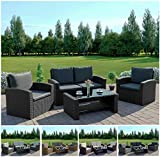 Abreo Rattan Outdoor Garden Patio Conservatory 4 Seater Sofa Furniture Armchair set with Cushions and Coffee Table Grey Brown Black (Black with Dark Cushions, Algarve 2 1 1)