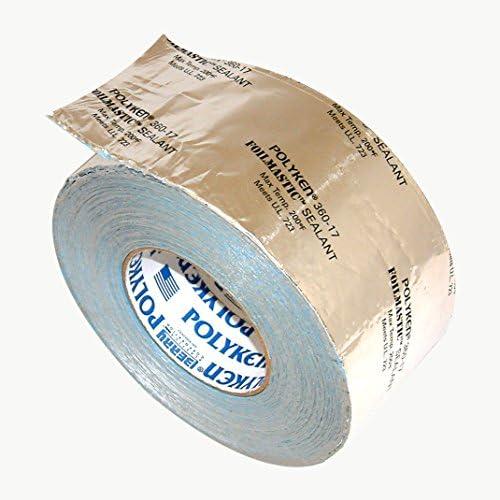 """Polyken 360-17 Heavy Duty Foil/Butyl Rubber Tape, 17 mil Thick, 100' Length x 2"""" Width, Aluminum"""