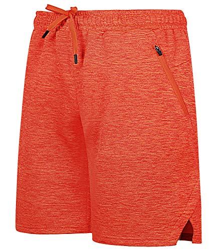 Mens Fleece Shorts with Zipper Pockets(XS,Orange Heather)