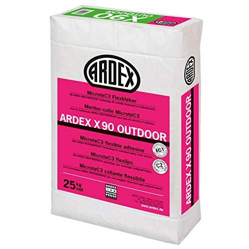 ARDEX X90 OUTDOOR MicroteC3 Flexkleber, 25kg - Ausblühungsfreie Verlegung von Fliesen aus Steinzeug und Feinsteinzeug, Beton- und Naturwerksteinplatten im Innen- und Außenbereich.