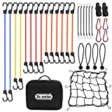 Bungee Cords with Hooks, Dr.meter 32pc Heavy Duty Bungee Cords Assortment, Includes 10'', 18'', 24'', 32'', 40'' Bungee Cords Set with 4 Canopy/Tarp Ball Ties, Cargo Net and Storage Bag