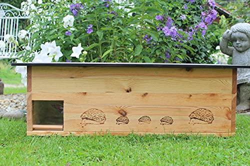 Woid Herz XXXL Igelhaus Neu 2 mal Lasiert (IG5) Igelhütte - Igelhaus mit Labyrintheingang und Rattenklappe - mit Boden und Abnehmbarer Dachöffnung zur leichteren Reinigung - inc. 2 Futterschalen