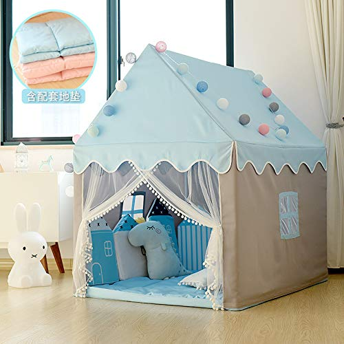 Girl Tent With Cushion Tent Kids Children Tent Indoor Play House Girl Princess Castle Small House Doll House Family Separation Artifact,Blue