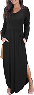 Women's Long Sleeve Autumn Dress Loose Plain Side Split Casual Maxi Dresses with Pockets