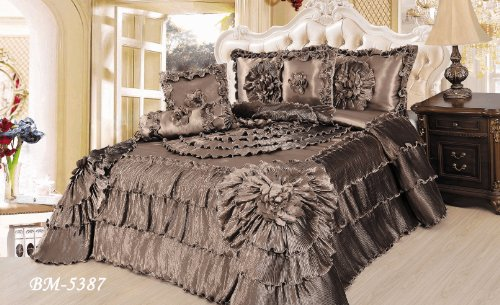 Tache 6 Piece Solid Brown Floral Shades of Espresso Ruffle Comforter Quilt Set, King Size