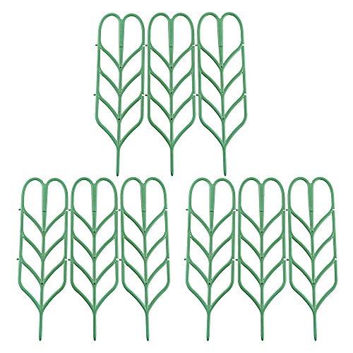 Garden Trellis For Mini Climbing Plant Pot Support miniature Leaf Trellis 4'W x 14'H, 9 Pack, Green