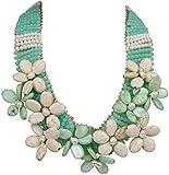 Collana alla moda 'Violetta' verde menta, gioiello con fiori