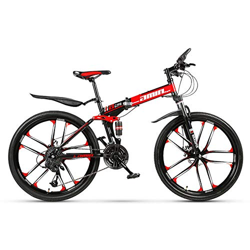 26 Zoll Mountainbike, Scheibenbremsen Hardtail MTB, Trekkingrad Herren Bike Mädchen-Fahrrad, Vollfederung Mountain Bike, 27 Speed,Rot,High match