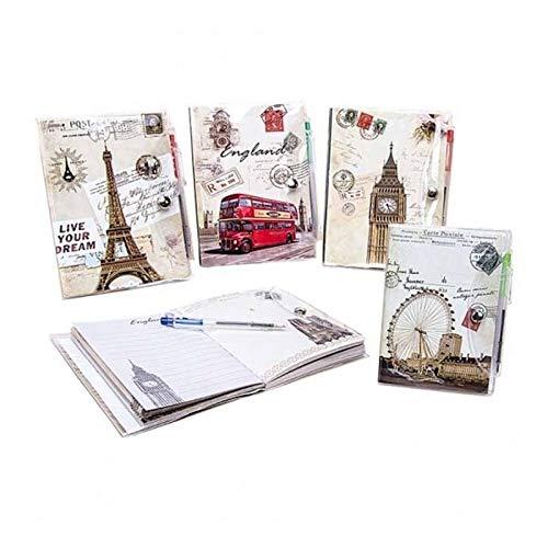 Set mit 20 Notizbüchern + Kugelschreiber Postal – originelle Hochzeitseinladungen, Geschenke für Kommunion und Geburtstag
