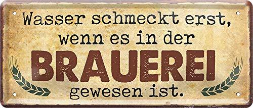 """schilderkreis24 – Blechschild Lustiger Bier Spruch """"Wasser Brauerei"""" Deko Küche Bar Theke Biergarten Stammtisch Kneipe Humor witzige Geschenkidee Geburtstag Weihnachten 28x12 cm"""