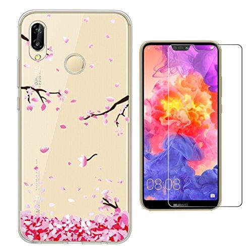 Yoowei Cover per Huawei P20 Lite Trasparente con Disegni + [Pellicola Protettiva in Vetro Temperato], Morbida Silicone Ultra Sottile TPU Gel Custodia per Huawei P20 Lite, Fiori di ciliegio