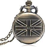 HGDH Cadena de Reloj de Bolsillo Reloj de Bolsillo para Hombre Retro Vintage Estilo de Cuarzo Reloj de Bolsillo Collar de la Cadena Regalo para los Hombres para Hombres Mujeres Regalo