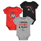 MLB Newborn Infants'Big Time Fan' 3 Piece Bodysuit Creeper Set (12 Months, Miami Marlins)