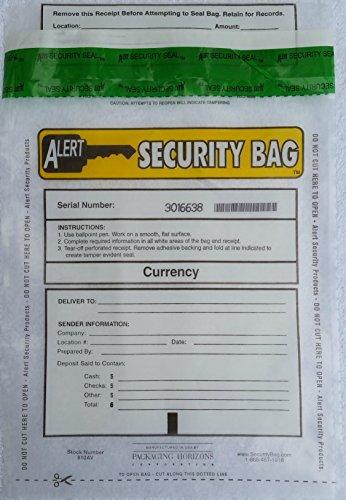 Alert Tamper Evident Bank Deposit Bag, Clear 8 X 10 in, Serial Numbers, Receipt. 250 Bags