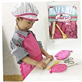 Odoukey Set di Cuoco per Bambini, Cucina Fai da Te e Set di Cottura, Insieme del Giocattolo, Grembiule Utensili Guanti Cappello pentole, Regali per Il Giorno dei Bambini per i Bambini