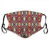 Antipolvo polución ajustable, triángulo geométrico, diseño tribal azteca Zig Zag Folk Art Estilo étnico, máscara bucal reutilizable de seguridad cálida para exteriores, tamaño de adulto: M