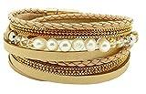 Armband Damen Wickelarmband Frauen in Leder mit Süßwasser-Zuchtperle und Magnetverschluss Gold, Damen Armband Rosegold (Sand, 215)
