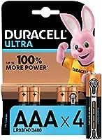Duracell Ultra AAA con Powerchek, Pilas Alcalinas , paquete de 4, 1,5 Voltios LR03 MX2400
