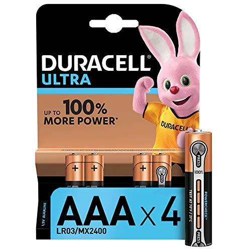 Duracell Ultra Power Typ AAA Alkaline Batterien, 4er Pack, Verpackung kann variieren