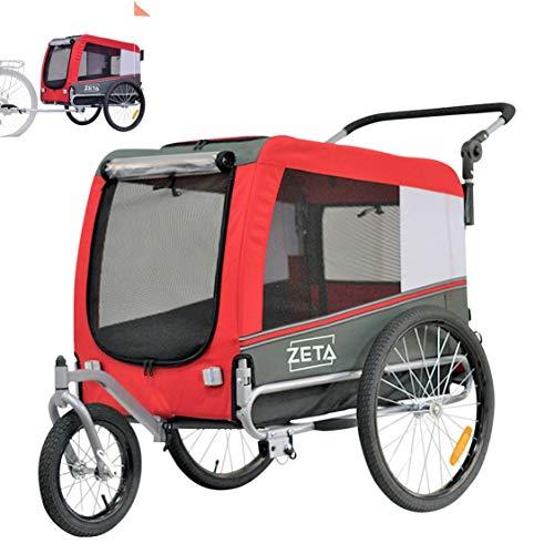 Papilioshop Zeta Fahrradanhänger Transportwagen für Hunde und Tiere (rot M)